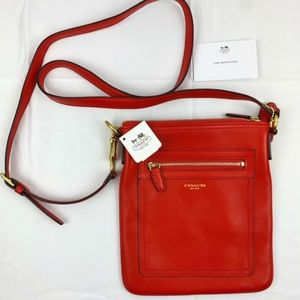 Coach Red Leather Cross-body Swing Pack